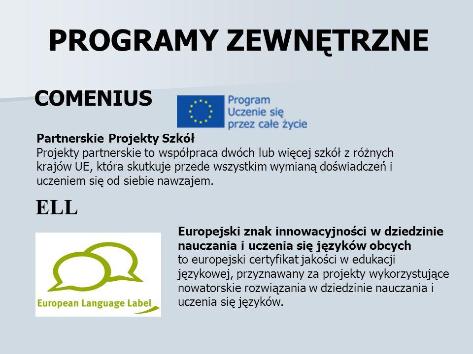 PROGRAMY ZEWNĘTRZNE COMENIUS ELL Partnerskie Projekty Szkół