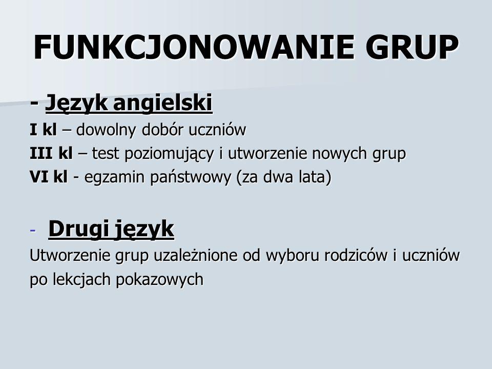 FUNKCJONOWANIE GRUP - Język angielski Drugi język