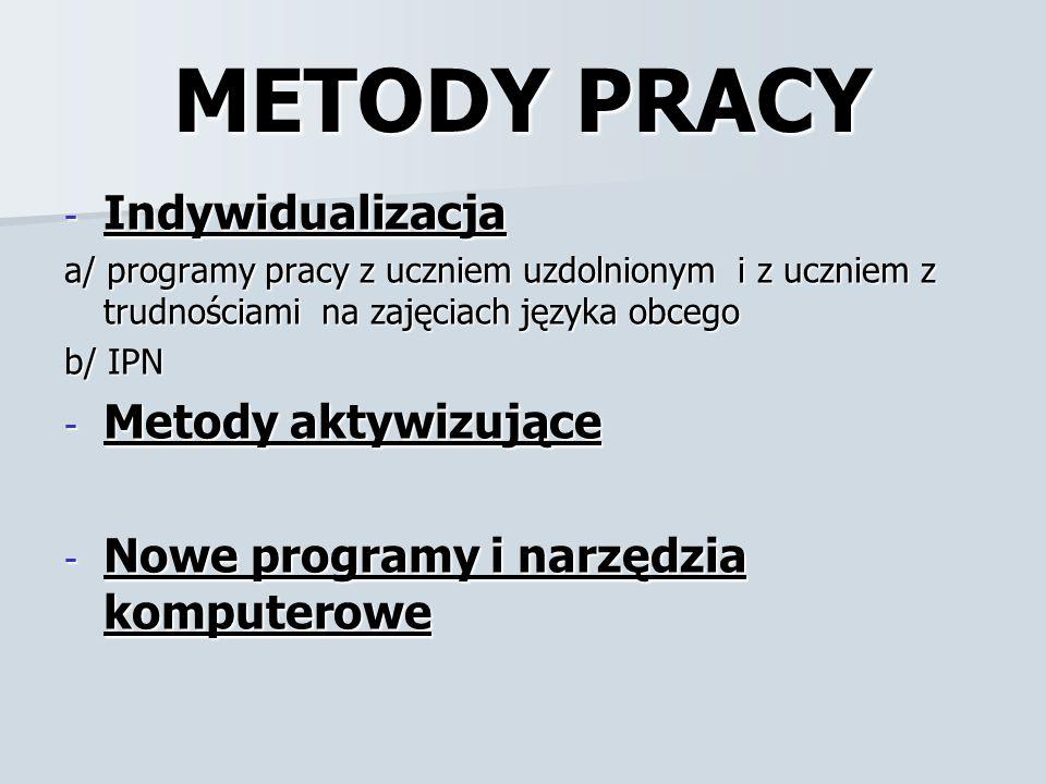 METODY PRACY Indywidualizacja Metody aktywizujące