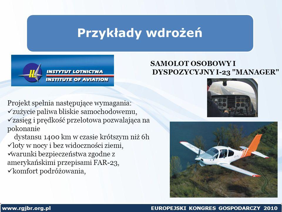 Przykłady wdrożeń SAMOLOT OSOBOWY I DYSPOZYCYJNY I-23 MANAGER
