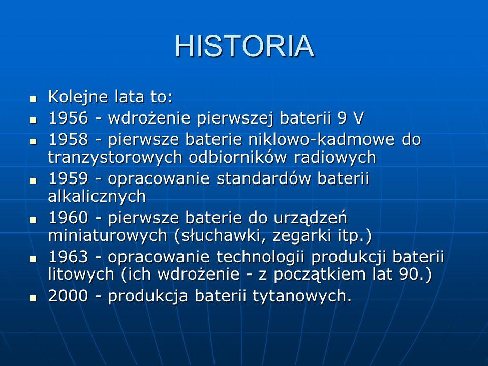 HISTORIA Kolejne lata to: 1956 - wdrożenie pierwszej baterii 9 V