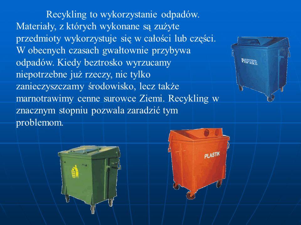 Recykling to wykorzystanie odpadów