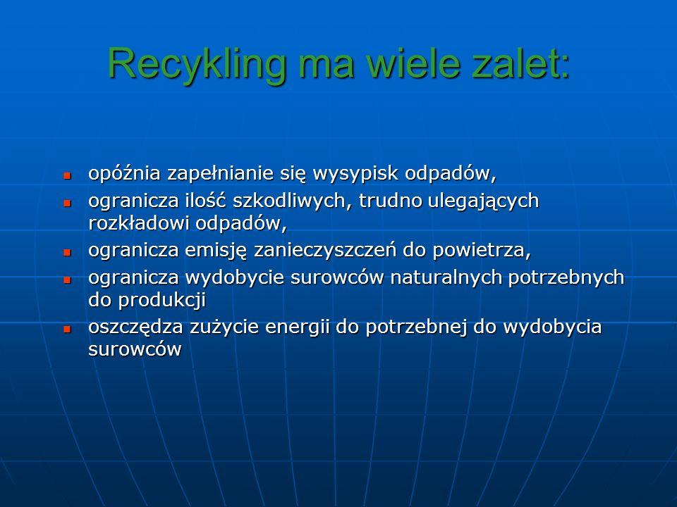 Recykling ma wiele zalet:
