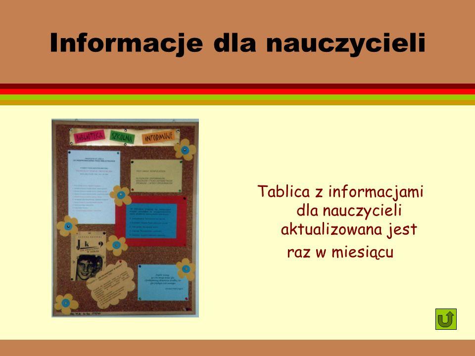 Informacje dla nauczycieli