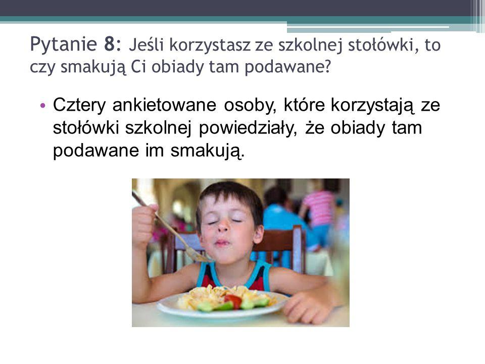 Pytanie 8: Jeśli korzystasz ze szkolnej stołówki, to czy smakują Ci obiady tam podawane