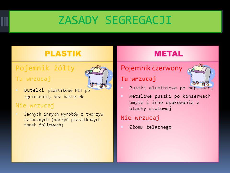 ZASADY SEGREGACJI PLASTIK METAL Pojemnik żółty Pojemnik czerwony