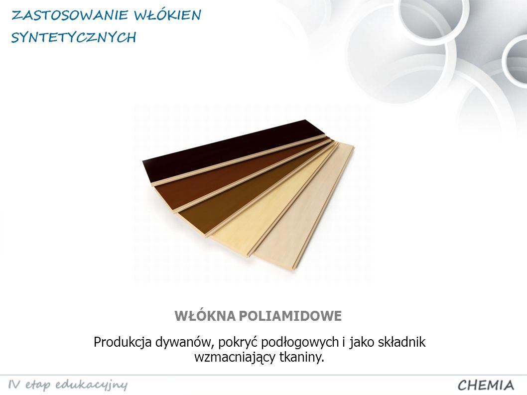 WŁÓKNA POLIAMIDOWE Produkcja dywanów, pokryć podłogowych i jako składnik wzmacniający tkaniny.