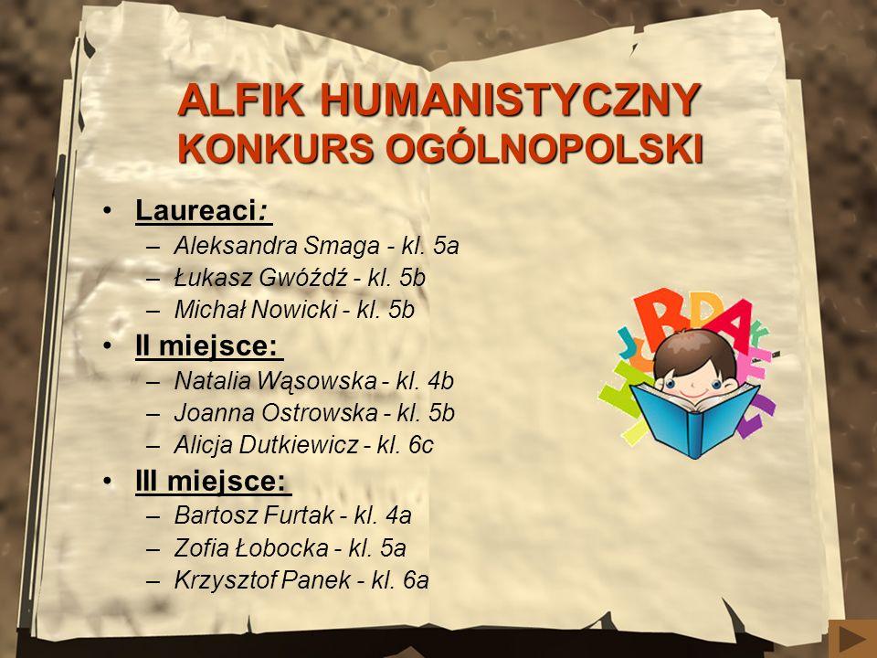 ALFIK HUMANISTYCZNY KONKURS OGÓLNOPOLSKI