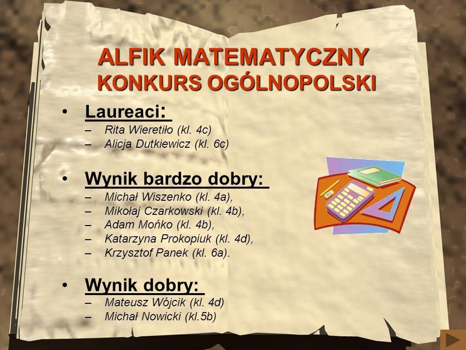 ALFIK MATEMATYCZNY KONKURS OGÓLNOPOLSKI