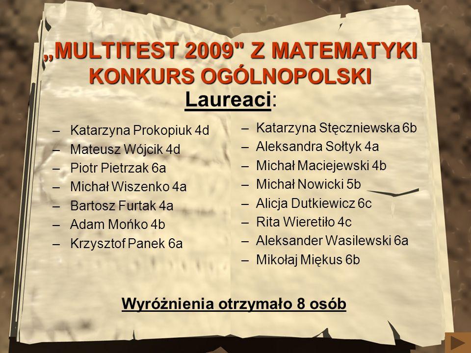 """MULTITEST 2009 Z MATEMATYKI KONKURS OGÓLNOPOLSKI"