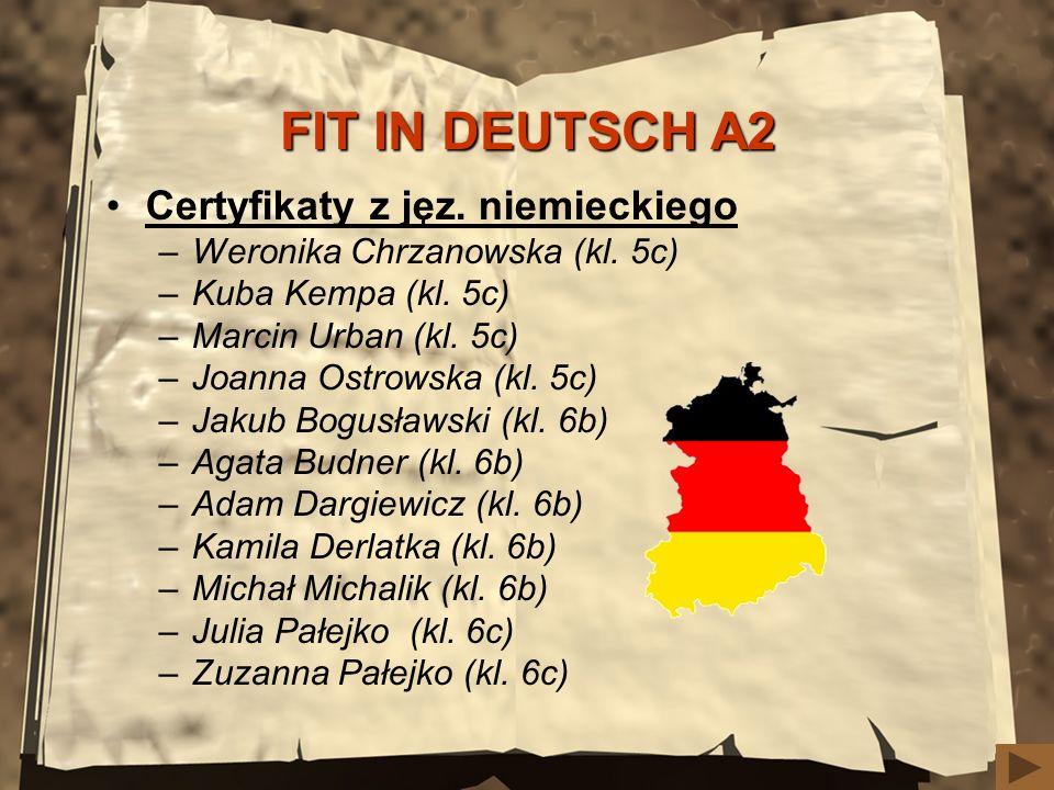 FIT IN DEUTSCH A2 Certyfikaty z jęz. niemieckiego