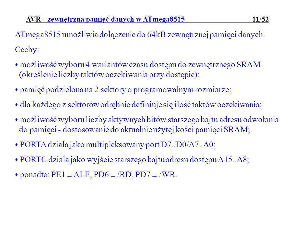 AVR - zewnętrzna pamięć danych w ATmega8515 11/52