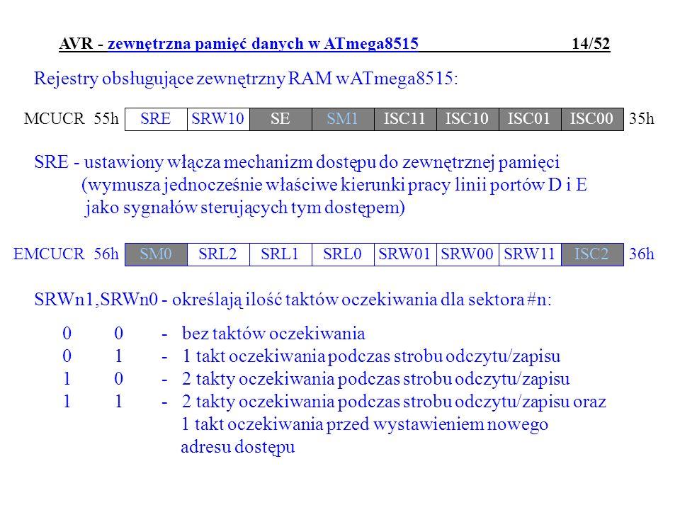 AVR - zewnętrzna pamięć danych w ATmega8515 14/52