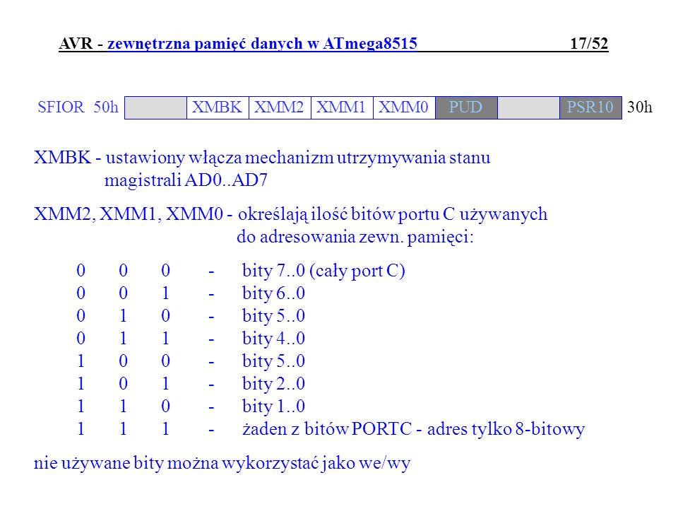 AVR - zewnętrzna pamięć danych w ATmega8515 17/52