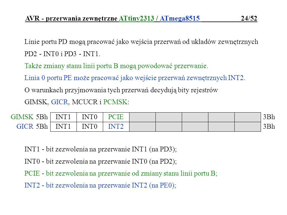 AVR - przerwania zewnętrzne ATtiny2313 / ATmega8515 24/52