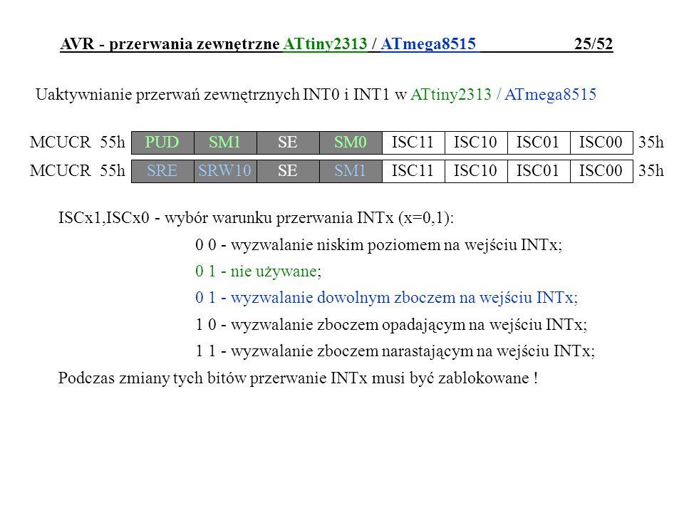 AVR - przerwania zewnętrzne ATtiny2313 / ATmega8515 25/52
