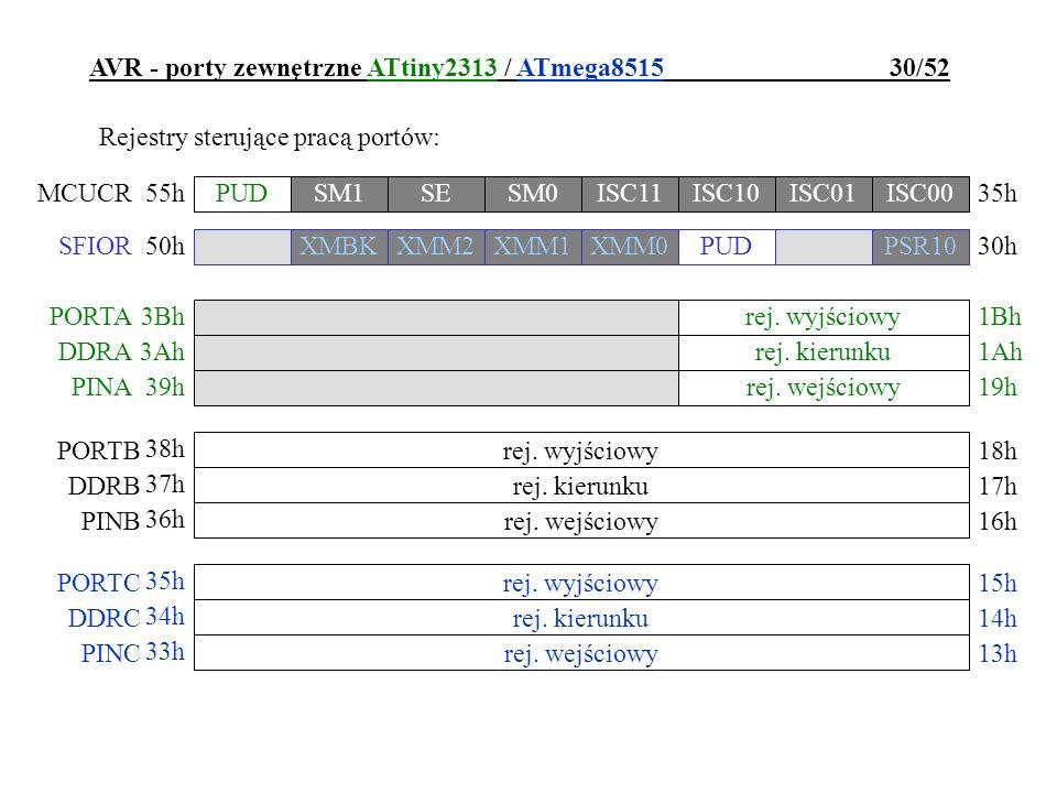 AVR - porty zewnętrzne ATtiny2313 / ATmega8515 30/52