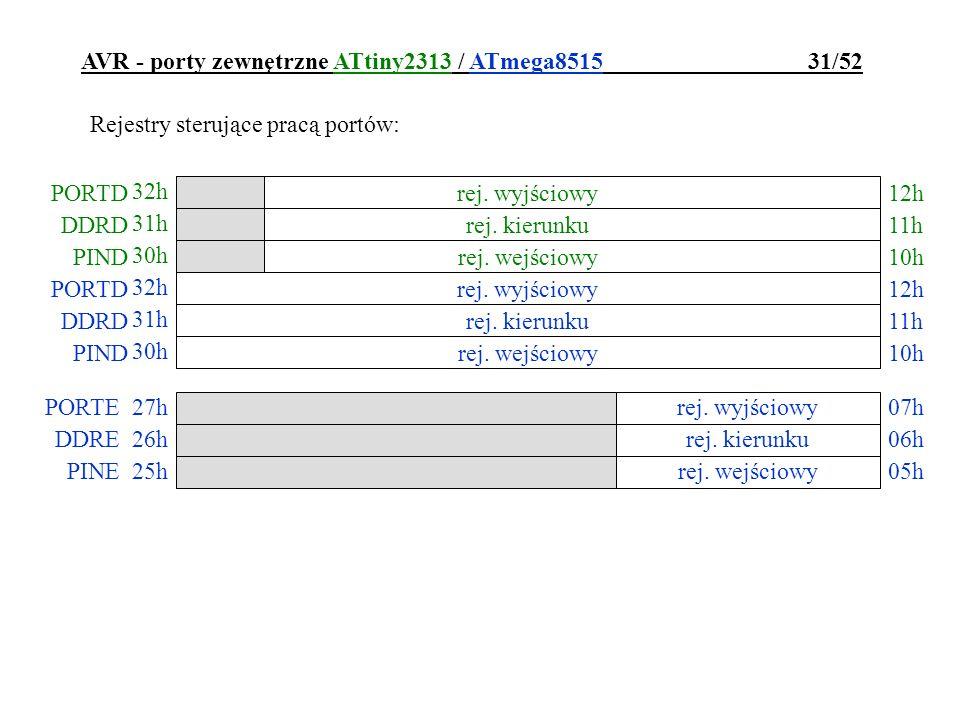 AVR - porty zewnętrzne ATtiny2313 / ATmega8515 31/52