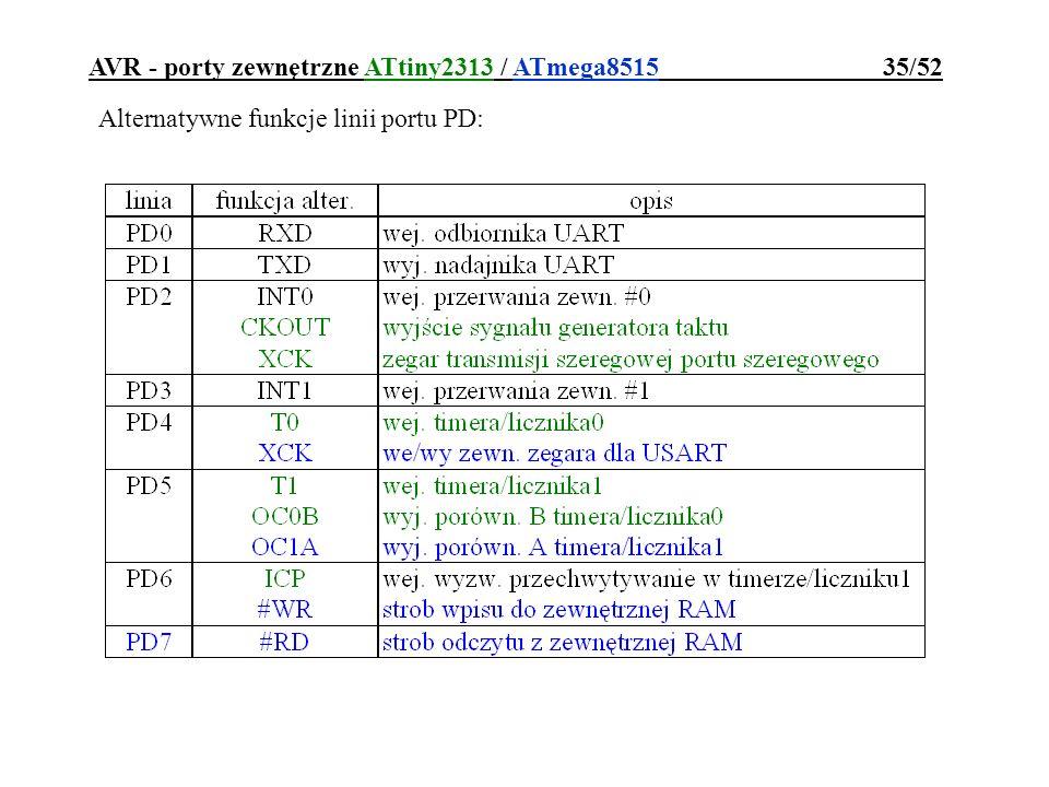 AVR - porty zewnętrzne ATtiny2313 / ATmega8515 35/52