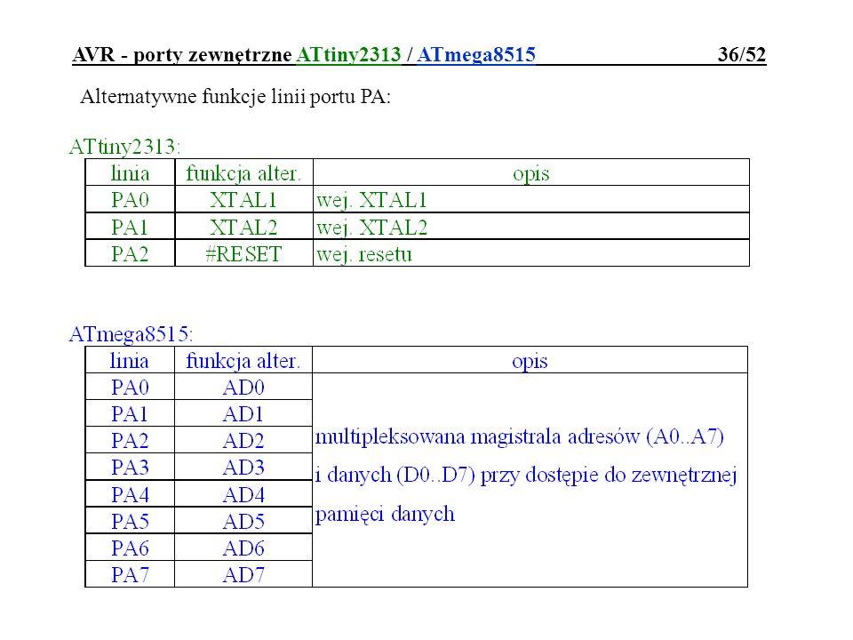 AVR - porty zewnętrzne ATtiny2313 / ATmega8515 36/52