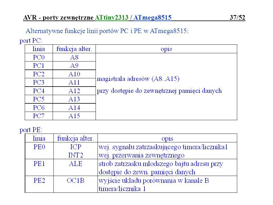 AVR - porty zewnętrzne ATtiny2313 / ATmega8515 37/52