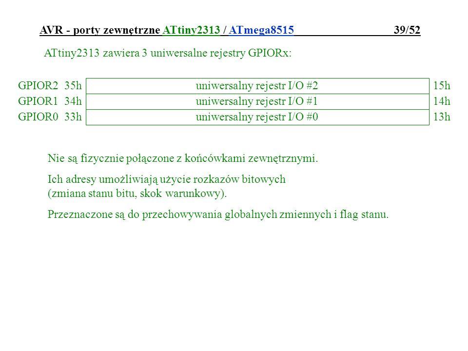 AVR - porty zewnętrzne ATtiny2313 / ATmega8515 39/52