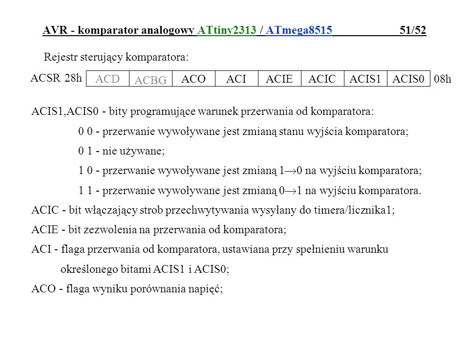 AVR - komparator analogowy ATtiny2313 / ATmega8515 51/52