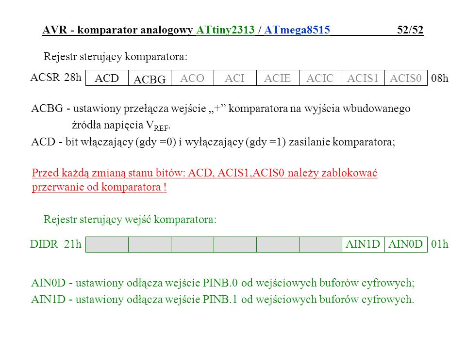 AVR - komparator analogowy ATtiny2313 / ATmega8515 52/52