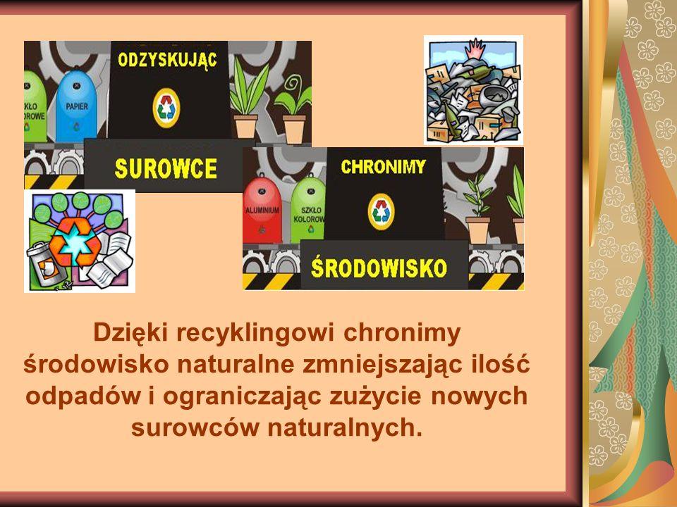 Dzięki recyklingowi chronimy środowisko naturalne zmniejszając ilość odpadów i ograniczając zużycie nowych surowców naturalnych.