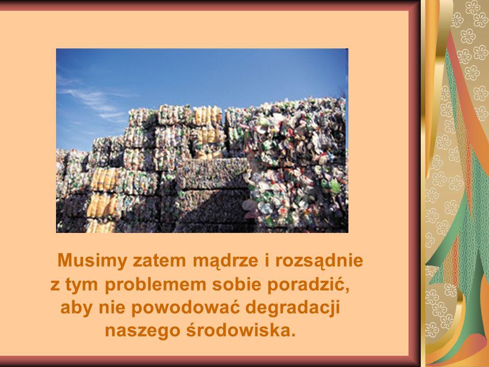 Musimy zatem mądrze i rozsądnie z tym problemem sobie poradzić, aby nie powodować degradacji naszego środowiska.