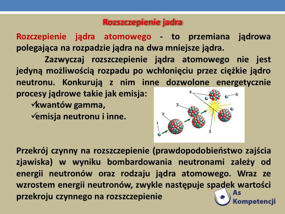 Rozszczepienie jadra Rozczepienie jądra atomowego - to przemiana jądrowa polegająca na rozpadzie jądra na dwa mniejsze jądra.