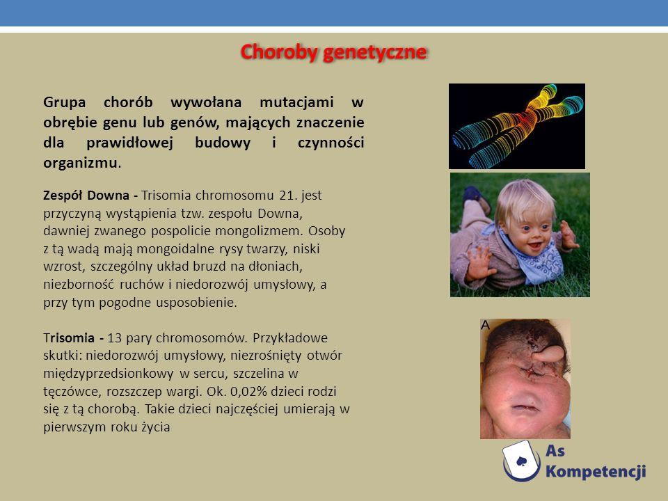 Choroby genetyczne Grupa chorób wywołana mutacjami w obrębie genu lub genów, mających znaczenie dla prawidłowej budowy i czynności organizmu.
