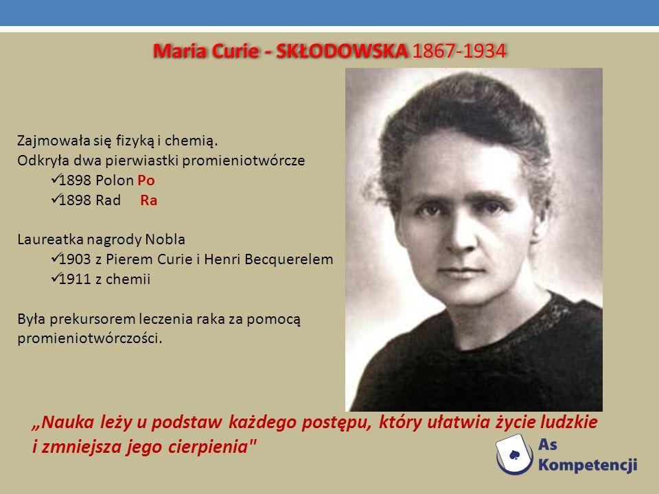 Maria Curie - SKŁODOWSKA 1867-1934