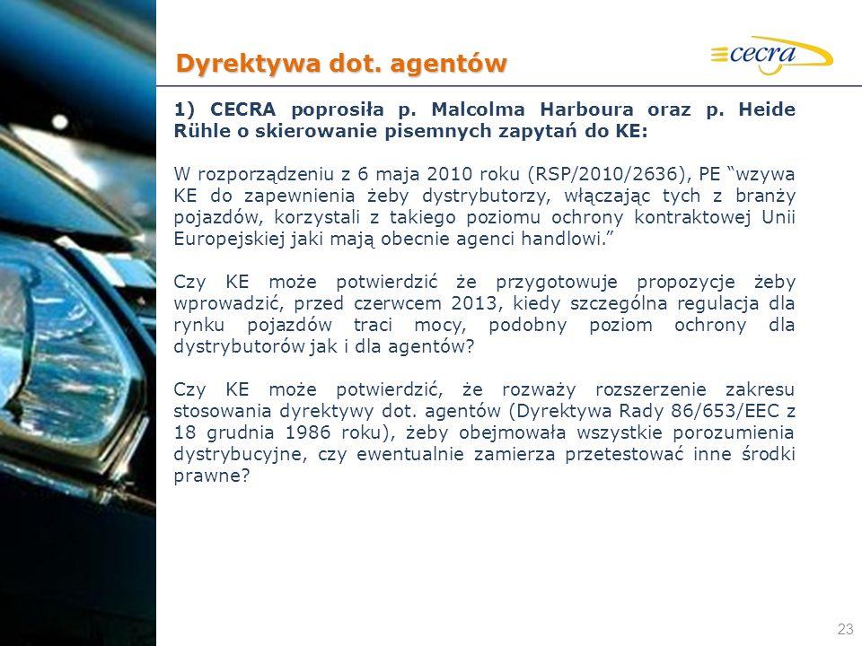 Dyrektywa dot. agentów 1) CECRA poprosiła p. Malcolma Harboura oraz p. Heide Rühle o skierowanie pisemnych zapytań do KE:
