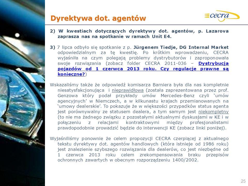 Dyrektywa dot. agentów 2) W kwestiach dotyczących dyrektywy dot. agentów, p. Lazarova zaprasza nas na spotkanie w ramach Unit E4.