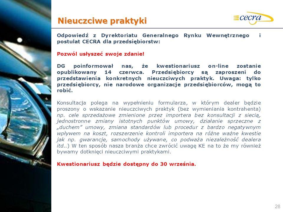Nieuczciwe praktyki Odpowiedź z Dyrektoriatu Generalnego Rynku Wewnętrznego i postulat CECRA dla przedsiębiorstw: