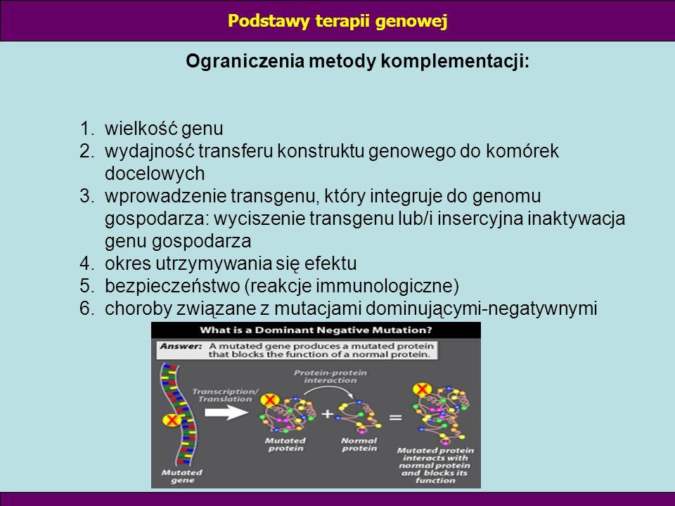 Podstawy terapii genowej Ograniczenia metody komplementacji: