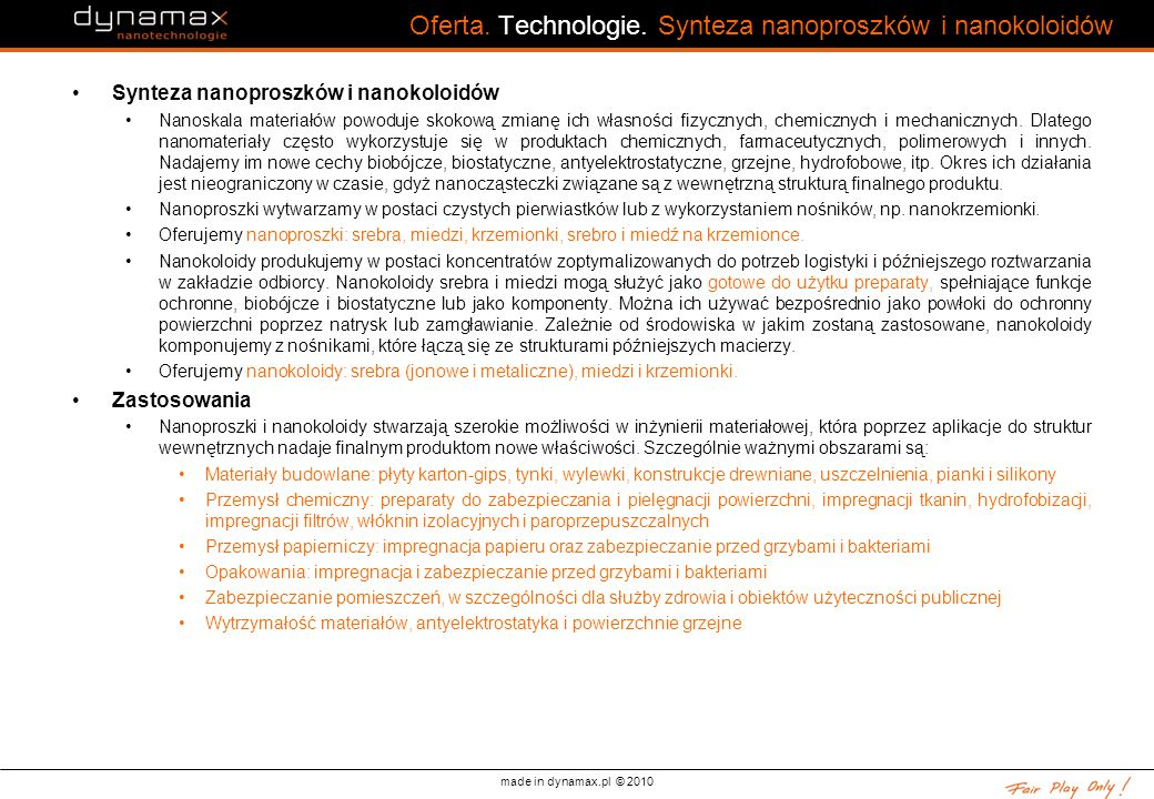 Oferta. Technologie. Synteza nanoproszków i nanokoloidów