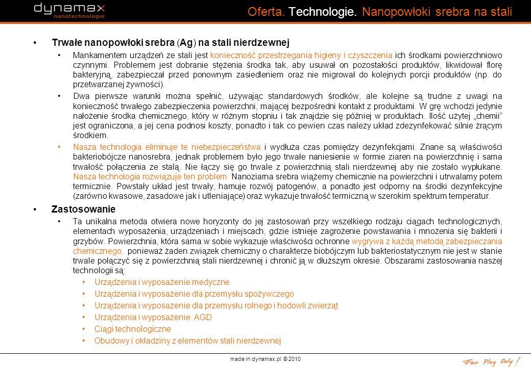 Oferta. Technologie. Nanopowłoki srebra na stali