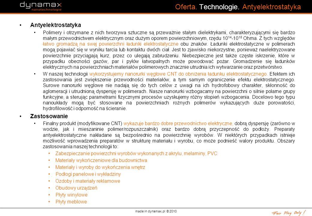 Oferta. Technologie. Antyelektrostatyka