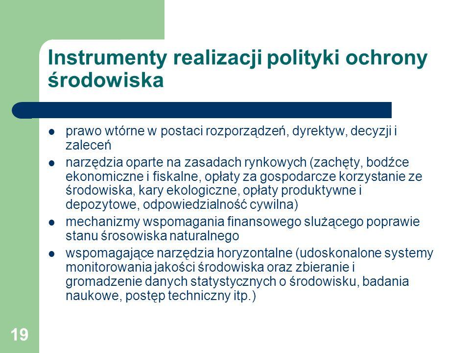 Instrumenty realizacji polityki ochrony środowiska