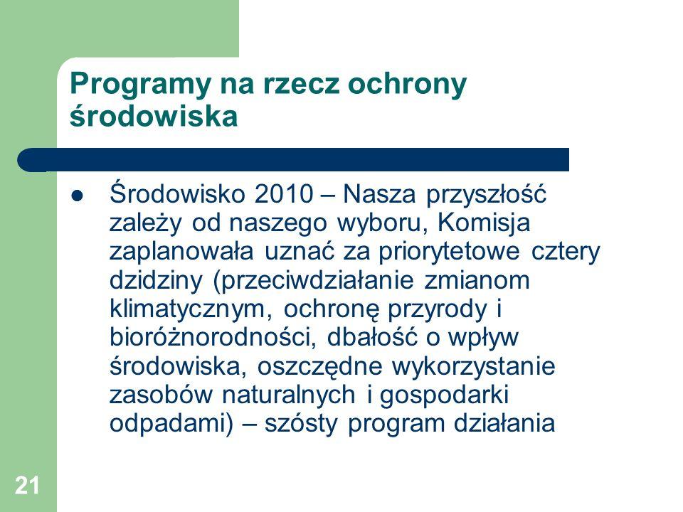 Programy na rzecz ochrony środowiska