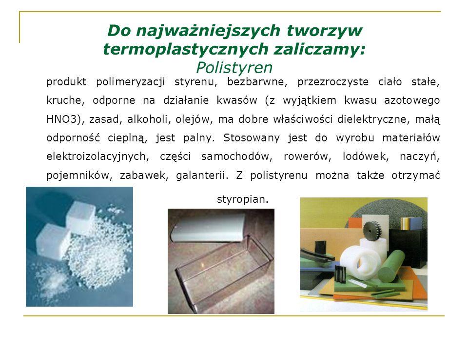 Do najważniejszych tworzyw termoplastycznych zaliczamy: Polistyren