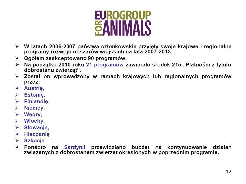 W latach 2006-2007 państwa członkowskie przyjęły swoje krajowe i regionalne programy rozwoju obszarów wiejskich na lata 2007-2013,