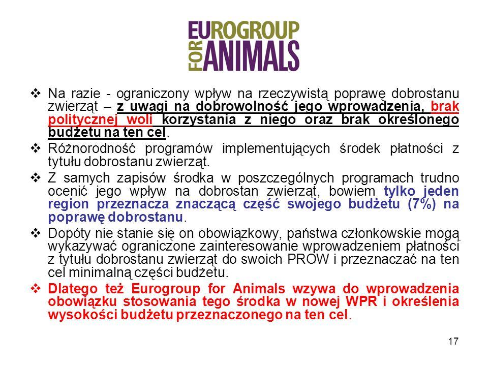 Na razie - ograniczony wpływ na rzeczywistą poprawę dobrostanu zwierząt – z uwagi na dobrowolność jego wprowadzenia, brak politycznej woli korzystania z niego oraz brak określonego budżetu na ten cel.