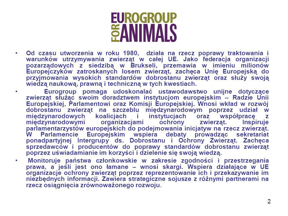 Od czasu utworzenia w roku 1980, działa na rzecz poprawy traktowania i warunków utrzymywania zwierząt w całej UE. Jako federacja organizacji pozarządowych z siedzibą w Brukseli, przemawia w imieniu milionów Europejczyków zatroskanych losem zwierząt, zachęca Unię Europejską do przyjmowania wysokich standardów dobrostanu zwierząt oraz służy swoją wiedzą naukową, prawną i techniczną w tych kwestiach.