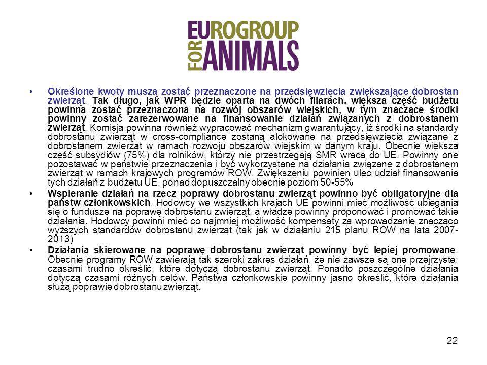 Określone kwoty muszą zostać przeznaczone na przedsięwzięcia zwiększające dobrostan zwierząt. Tak długo, jak WPR będzie oparta na dwóch filarach, większa część budżetu powinna zostać przeznaczona na rozwój obszarów wiejskich, w tym znaczące środki powinny zostać zarezerwowane na finansowanie działań związanych z dobrostanem zwierząt. Komisja powinna również wypracować mechanizm gwarantujący, iż środki na standardy dobrostanu zwierząt w cross-compliance zostaną alokowane na przedsięwzięcia związane z dobrostanem zwierząt w ramach rozwoju obszarów wiejskim w danym kraju. Obecnie większa część subsydiów (75%) dla rolników, którzy nie przestrzegają SMR wraca do UE. Powinny one pozostawać w państwie przeznaczenia i być wykorzystane na działania związane z dobrostanem zwierząt w ramach krajowych programów ROW. Zwiększeniu powinien ulec udział finansowania tych działań z budżetu UE, ponad dopuszczalny obecnie poziom 50-55%