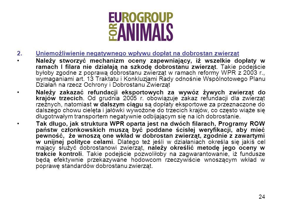 Uniemożliwienie negatywnego wpływu dopłat na dobrostan zwierząt