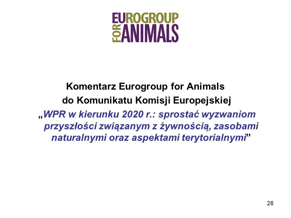 Komentarz Eurogroup for Animals do Komunikatu Komisji Europejskiej