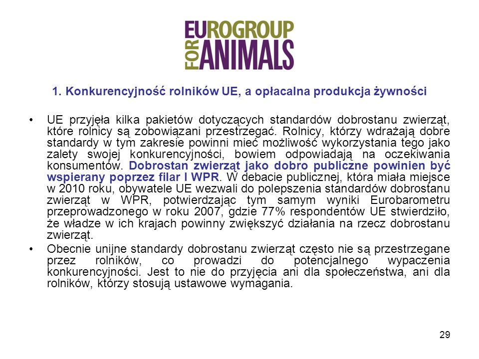 1. Konkurencyjność rolników UE, a opłacalna produkcja żywności